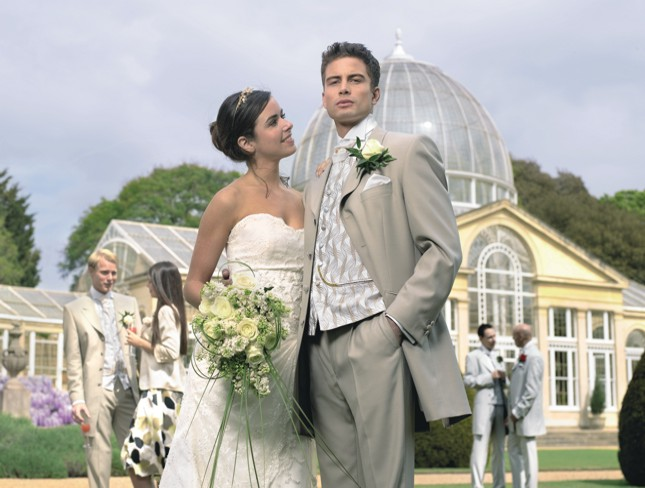 Bež muško odelo za venčanje